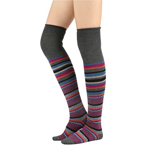 46ec4f499df0 STYLEGAGA Winter Multi-color Fair Isle Striped Cotton Knit Over The Knee  High Boot Socks