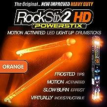 🧡🥁ROCKSTIX 2 HD ORANGE, BRIGHT LED LIGHT UP DRUMSTICKS, with fade effect, Set your gig on fire! (ORANGE ROCKSTIX)