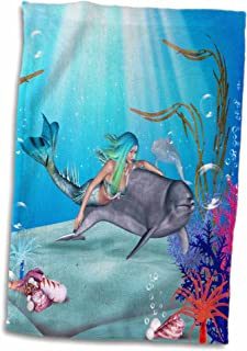 """3D Rose Mermaid Swims with a Dolphin Underwater TWL_172228_1 Towel, 15"""" x 22"""", Multicolor"""