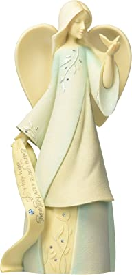 """Foundations March Monthly Angel Stone Resin Figurine, 7.5"""""""