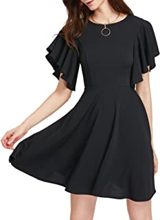 5b3b8c16786 Romwe Women s Stretchy A Line Swing Flared Skater Cocktail Party Dress
