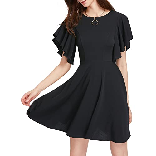 6c9b7a85ce1 Romwe Women s Stretchy A Line Swing Flared Skater Cocktail Party Dress