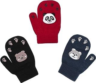 3 Pack Toddler Winter Stretchy Knitted Magic Mittens ,Full Finger Gloves For Little Girls Boys Teens