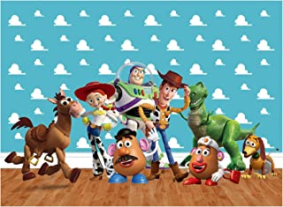 zlhcgd 7x5FT Toy Story Photography Vinyl Photo Background for Kids Birthday Party Backdrops Decoration