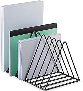 Mindspace Triangle File Holder | Modern Desk Organizer, Book Rack, Desktop File Sorter | Black Desk Organizer, Wire Collec...