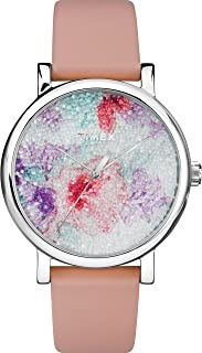 Timex Women's TW2R84300 Crystal Bloom Pink/White Floral Leather Strap Watch