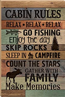 P. GRAHAM DUNN Cabin Rules Make Memories Fish Moose 24 x 16 Faux Distressed Wood Barn Board Wall Mounted Sign