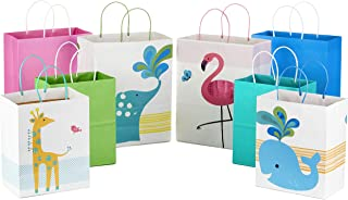 Hallmark Paper Gift Bags Assortment - Pack of 8 in Pink, Blue, Flamingos, Whales, Giraffes for Kids Birthdays or Baby Showers (4 Medium 10