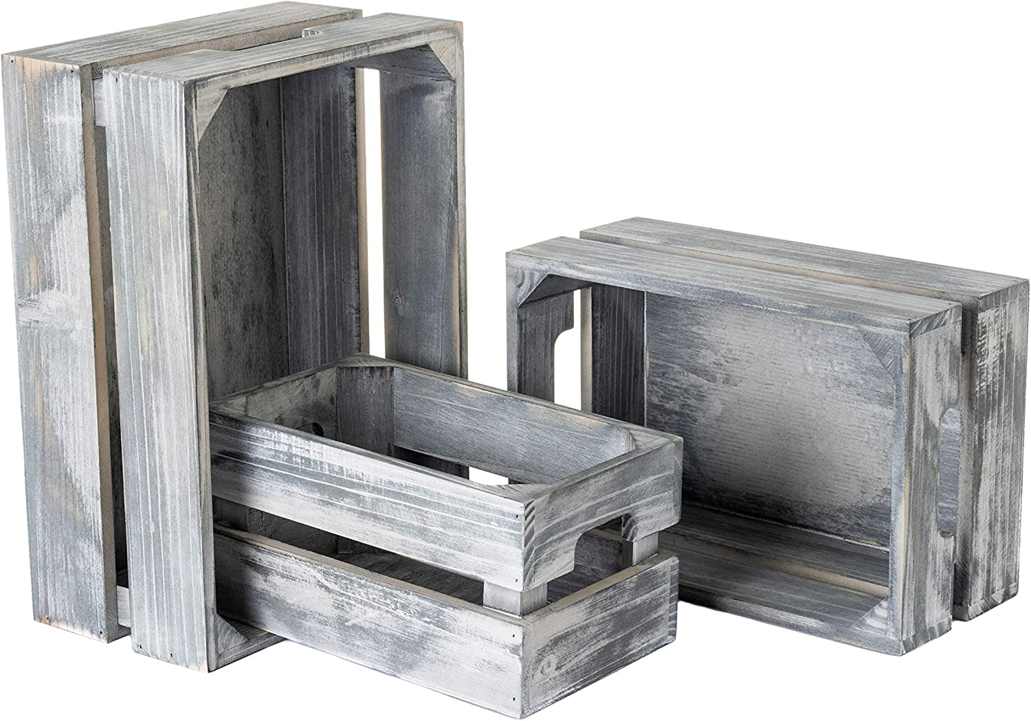 Strova Gray Nesting New product!! Wood Crates for Storage 3 Set Display of Limited price sale or