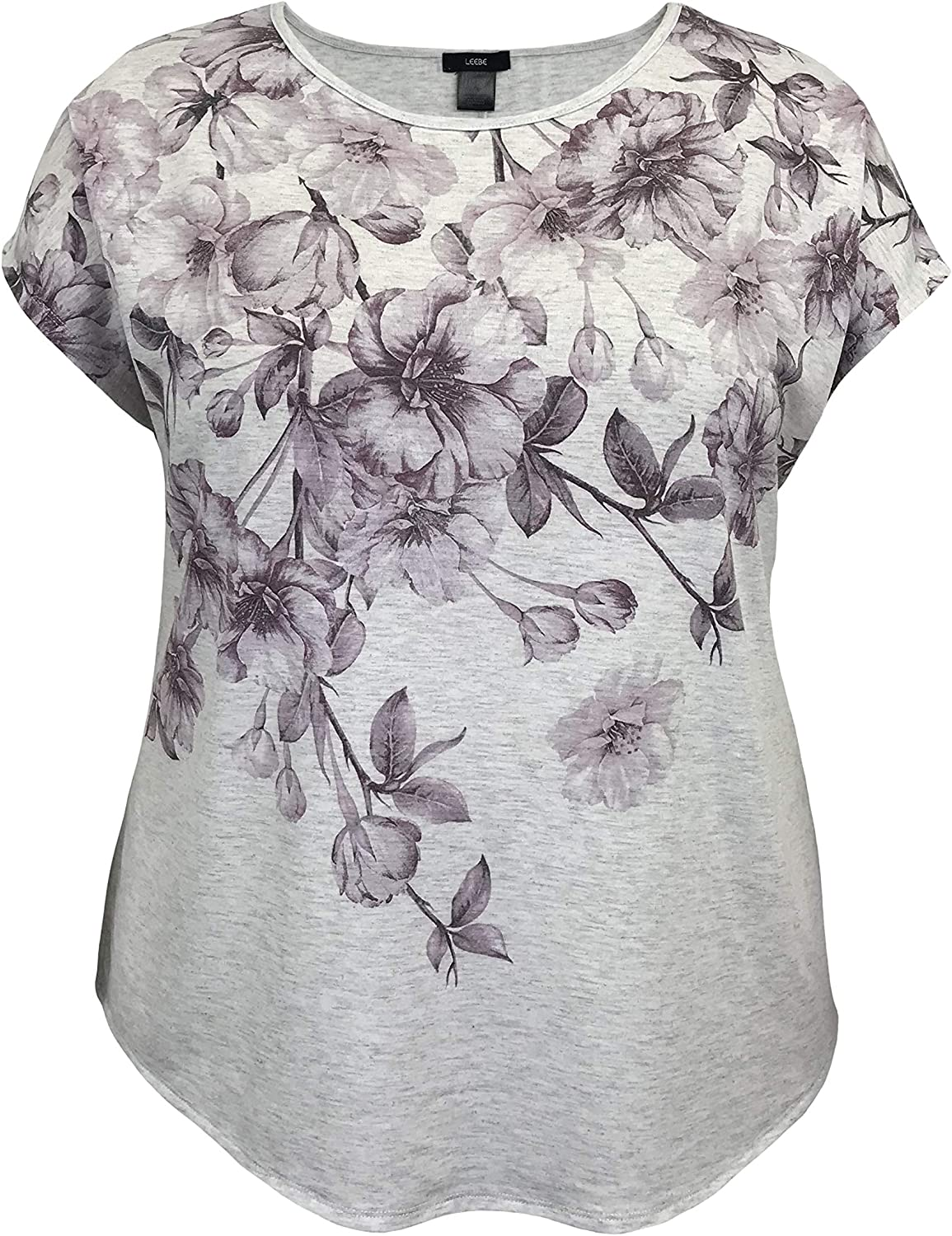 LEEBE Women and Plus Size Crew Neck Dolman Short Sleeve Print Top (Small-5X)