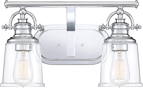 Quoizel Grt8602c Grant Vanity Bath Lighting 2 Light 200 Watts Polished Chrome 10 H X 16 W Amazon Com