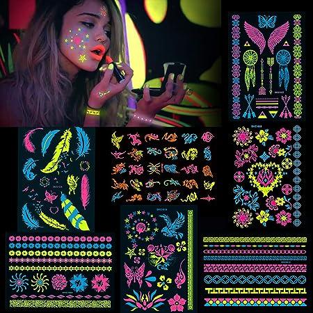 Konsait 7 Groß Blätter Klebetattoos Temporäre Neon Tattoos Schwarzlicht Schminke Uv Body Face Painting Tätowierung Aufklebe Für Frauen Männer Accessoire Für Schwarzlicht Uv Party Festivals Beauty