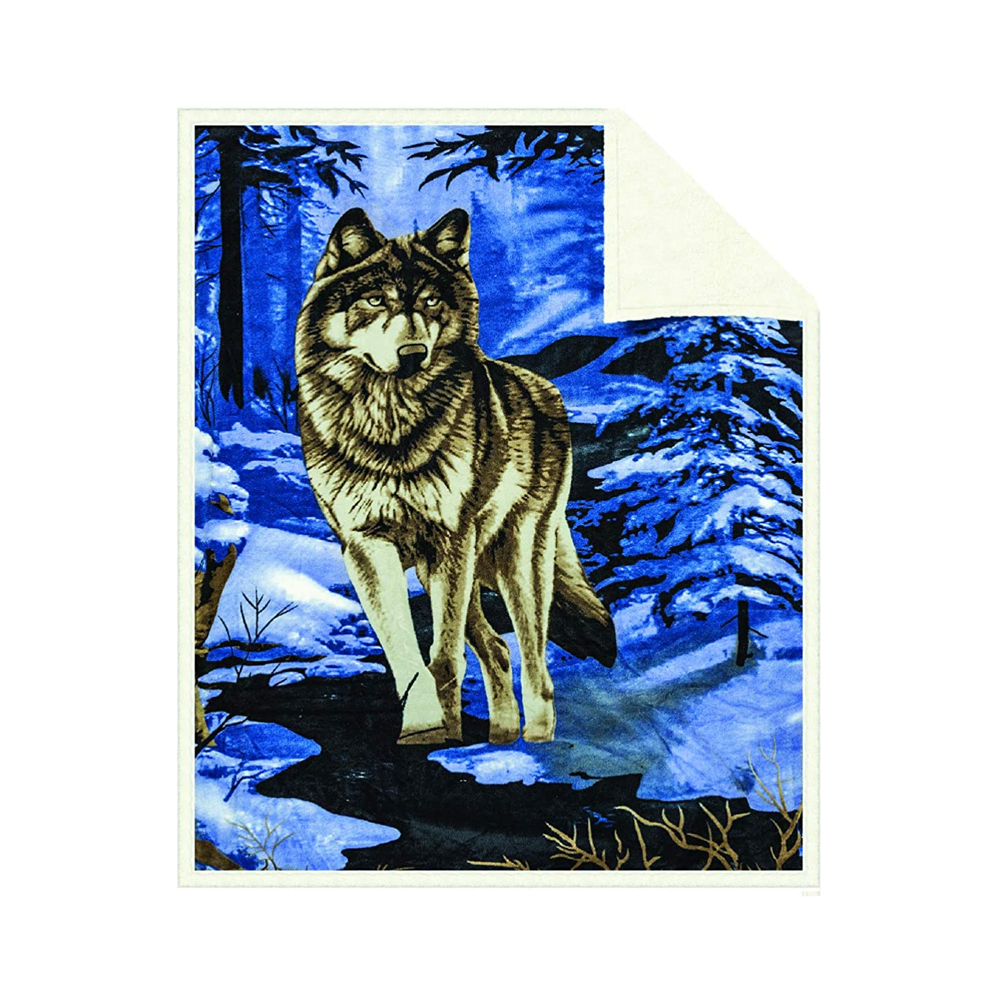 Fleece Sherpa Receiving Baby Blanket - Boys Girls Thick Soft Poly Double Layer Plush Minky Comfy Blankets for Infants Toddlers & Pets with Printed Blue Wolf Imagery Throws Size 30