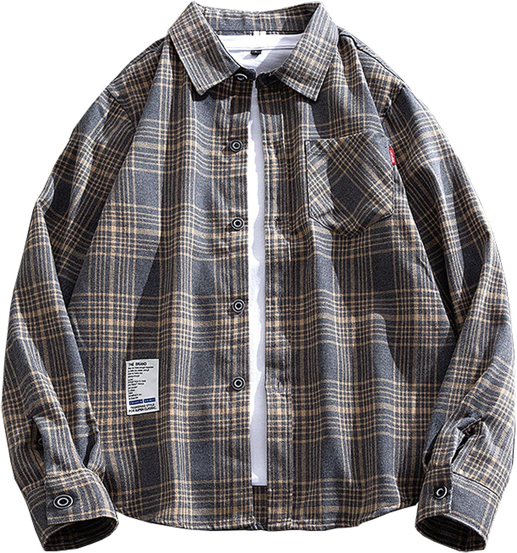 Men's Long-Sleeved Shirt Classic Lattice Loose Fit Shirt Henley Shirts Full Button Down