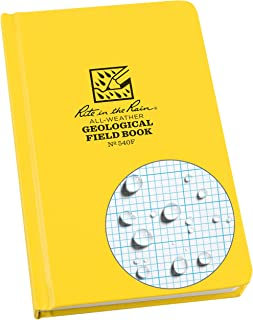 "Rite in the Rain Weatherproof Hard Cover Notebook, 4.75"" x 7.5"", Yellow Cover, Geological Pattern (No. 540F)"