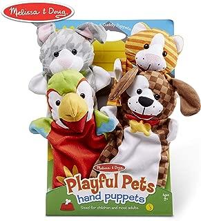 "Melissa & Doug Playful Pets Hand Puppets, Puppet Sets, Rabbit, Parrot, Kitten, and Puppy, Soft Plush Material, Set of 4, 14"" H x 8.5"" W x 2"" L"