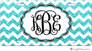 Simply Customized Personalized License Plate Monogram Turquoise Blue Glitter Chevron License Plate Car Auto Tag Aluminum PLP
