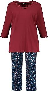 ULLA POPKEN Pyjama, Zweiteiler, Biobaumwolle, Uni Shirt, Geblmte Hose Set di Pigiama Donna