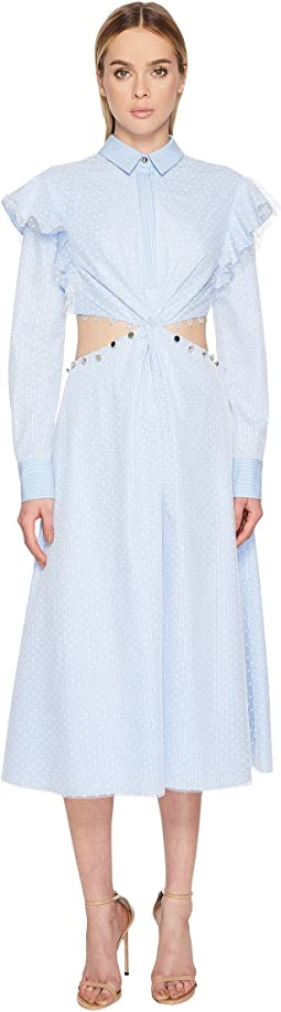 Prabal Gurung - Stripe Cotton Cold Mid Long Sleeve Dress