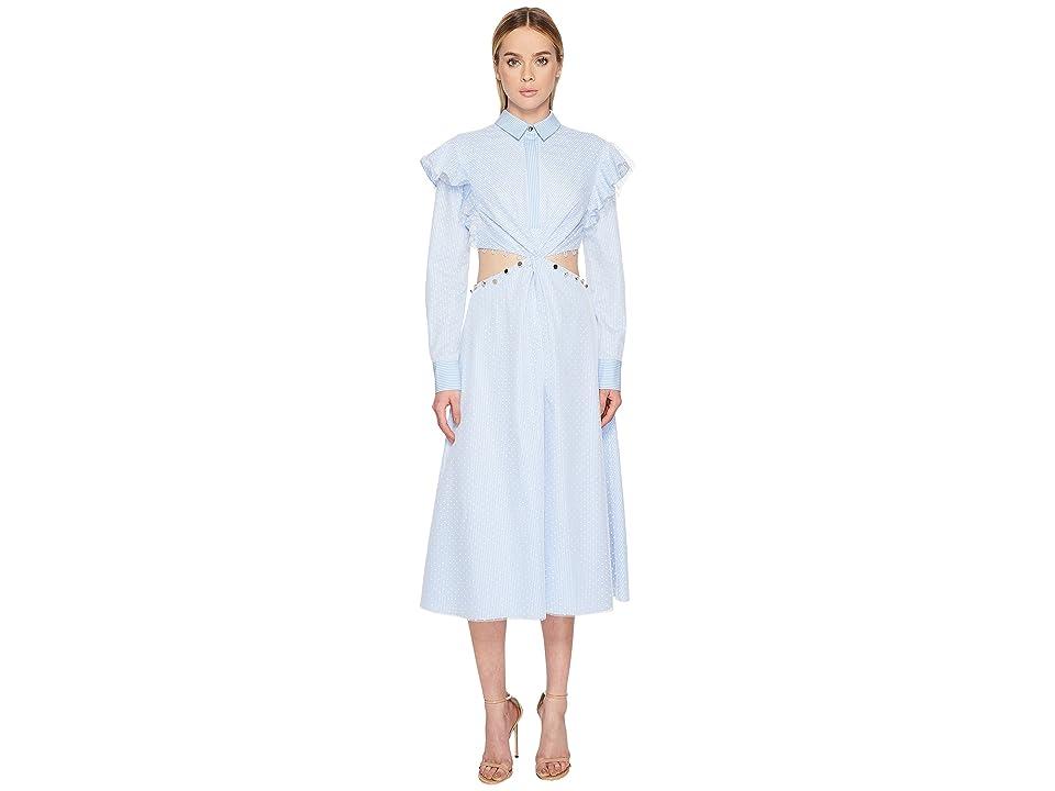 Prabal Gurung Stripe Cotton Cold Mid Long Sleeve Dress (Light Blue/White) Women
