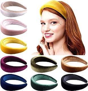 Duufin 9 Pcs Padded Headbands Thick Velvet Headband Puffy Sponge Headbands Vintage Wide Headband for Women, 9 Colors