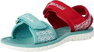 Clarks Girls' Finch Stride T Closed Toe Sandals, Red Interest, 7 UK