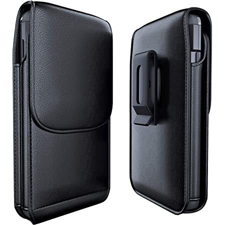 PiTau Phone Holster Designed for iPhone SE(2020), Belt Case with Swivel Belt Clip XL Large Phone Holder Pouch Compatible with Apple iPhone SE/ 6/ 6S/ 7/ 8 Fits Phone with Thick Case on- Black