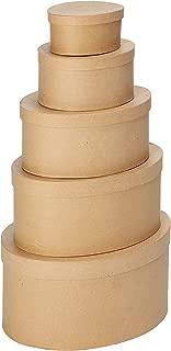 Darice 2849-12 Paper Mache Oval Box Set 5