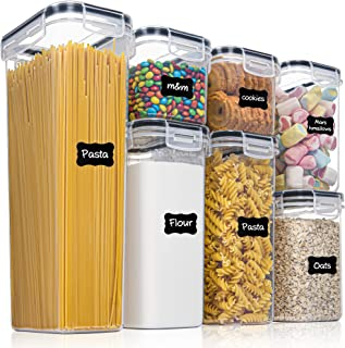 Vtopmart Lot de 7 boîtes hermétiques en plastique sans BPA, empilables pour aliments secs pour cuisine et garde-manger ave...