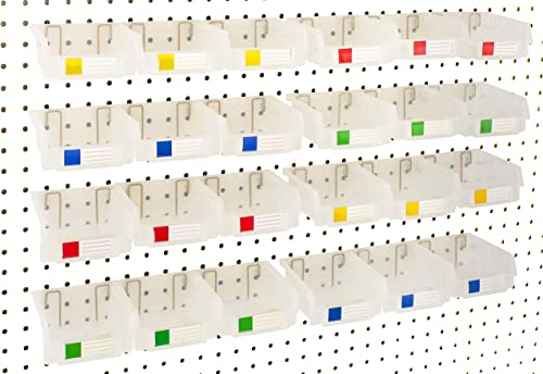 Pegboard Bins – 24 Pack Clear - Hooks to Any Peg Board - Organize Hardware, Accessories, Attachments, Workbench, Gara...