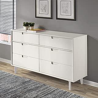 WE Furniture Pine Wood 6-Drawer Groove Handle Horizontal Dresser, 52