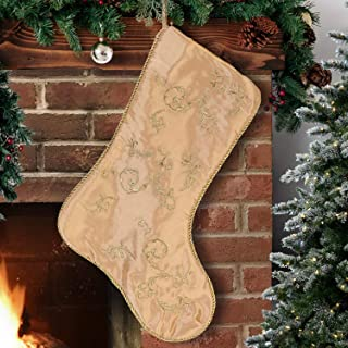 EDLDECCO 20.5 Inches Christmas Stocking Pack of 3 Golden with Embroidery X'Mas Holiday Party Decor Ornaments