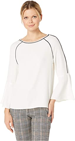 Piped Bell Sleeve Top