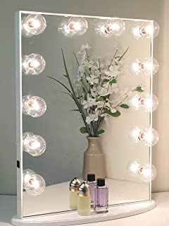 Hollywood Glow XL Vanity Mirror By Impressions Vanity Large (White w/Clear Bulbs & Dimmable)