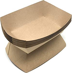 Mr. Miracle Kraft Paper Food Tray. 3 Pound Size. Pack of 100. Disposable, Recyclable and Fully Biodegradable. Made in USA