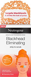 Neutrogena Blackhead Eliminating Pore Strip to Facial Scrub with Salicylic Acid Acne Treatment Oil-Free & Non-Comedogenic, 6 ct.