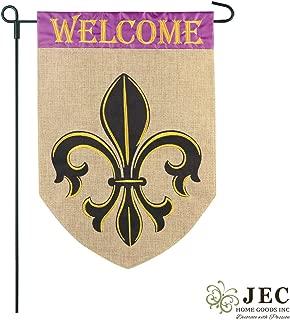 JEC Home Goods Welcome Burlap Garden Flag - 12x18 Yard Flag - Double Sided Fleur-De-Lis Flag