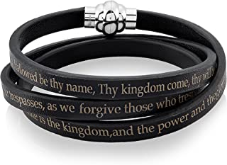 West Coast Jewelry | Crucible Stainless Steel Lord`s Prayer Wrap Leather Bracelet (6 mm)