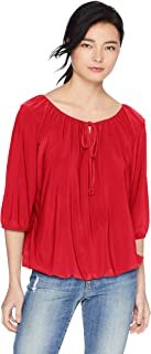 Star Vixen womens 3/4 Sleeve Peasant Elastic-Hem Keyhole-Tie Top Blouse