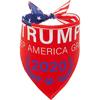 American Flag Dog Bandana - Trump 2020 USA Flag Bandana - Personalized Soft Cotton Triangle Scarf Dog Bandana for Samll, Medium, Large Dogs