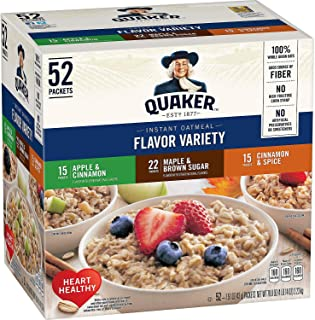 Quaker Instant Oatmeal Assorted Single-Serve Packets 1.51 Oz Package 52/Case