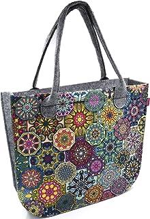 Bertoni Lady Shopper Damen Große Handtasche aus Filz mit Reißverschluss und Innentaschen Moderne Elegante Filztasche mit S...