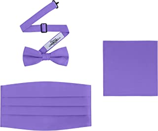 Men's 3 Piece Formal Accessory Set with Bow Tie, Cummerbund & Pocket Hanky