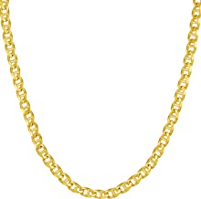 Lifetime Jewelry Gold Necklace for Women & Men [ 3mm Mariner Link Chain ] 20X More Real 24k Plating Than Other Statement Necklaces - Durable Gold Chain with Lifetime Replacement Guarantee 16-30 inch