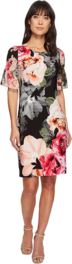 Calvin Klein - Printed Gathered Sleeve Dress
