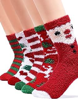 Women Fuzzy Fluffy Christmas Socks - Kids Thermal Cozy Warm Slipper Socks Girl