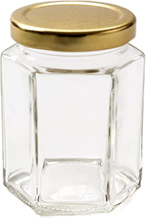 Preisvergleich für Nutley's Einmachglas, sechseckig, goldfarbener Drehverschluss, 237ml (8 oz), 6Stück