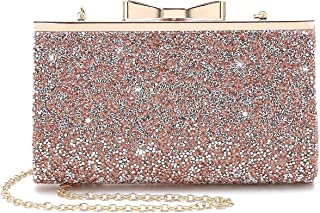 Womens Rhinestone Clutch Purse Evening Bags with Bow Closure