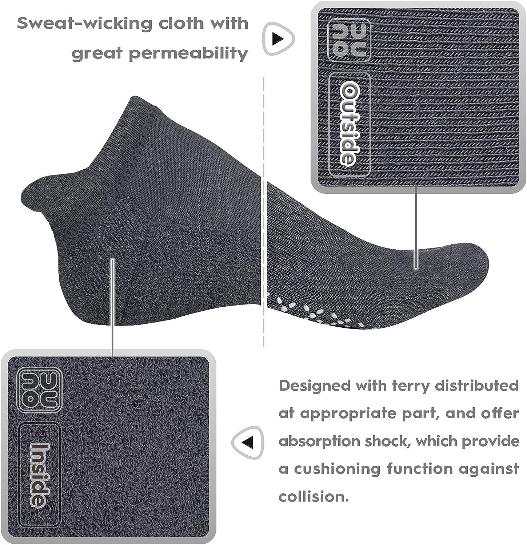 unenow Unisex Non Slip Grip Socks with Cushion for Yoga, Pilates, Barre, Home & Hospital