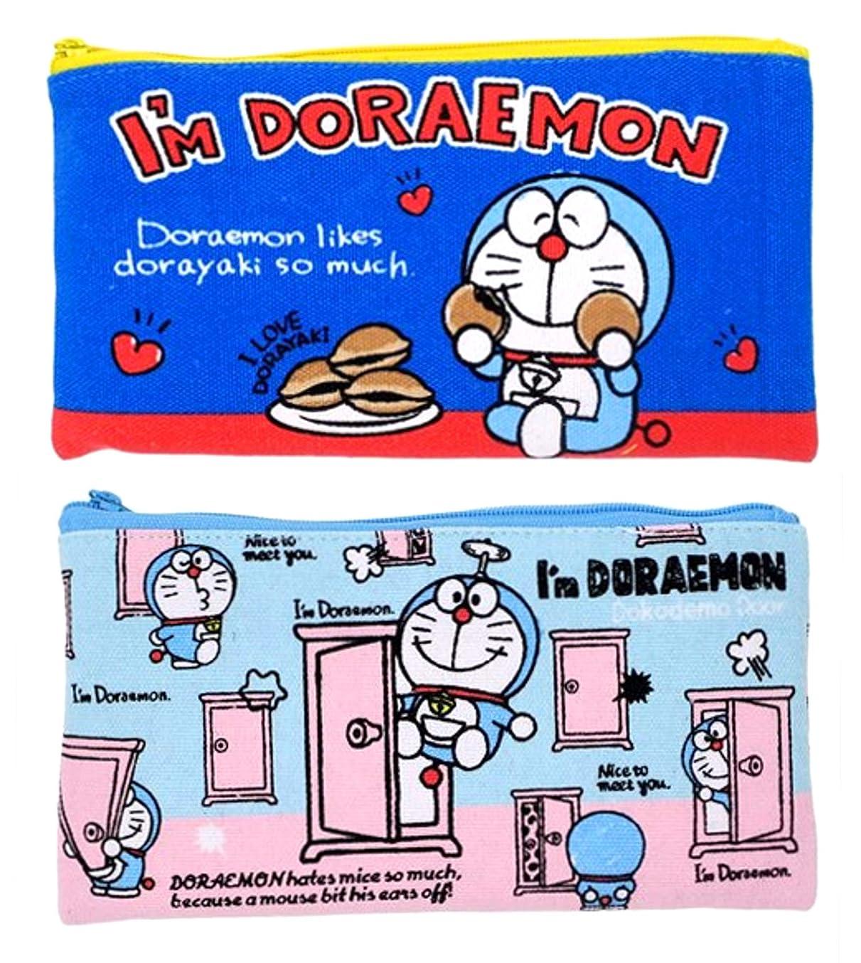 ポスター尊敬する誘惑ドラえもん フラットポーチ M 2種セット(どら焼き 青?どこでもドア 水色) I'm DORAEMON